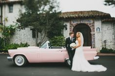 Pink thunderbird romantics groom in black, bride in white strapless fitted lace gown - Planning: LVL Weddings & Events // Photography: Cami Jane Photography // Ceremony: Santa Catalina Chapel // Reception: Tehama Golf Club // Floral: Kathryn Smith Flowers // Linen Rental: LaTavola Linen // Cake: Parker Lusseau // DJ: Kelly Productions // Bride's Gown: Enzoani // Bridesmaid Dresses: Jenny Yoo // Bridesmaid Jewelry: J.Crew