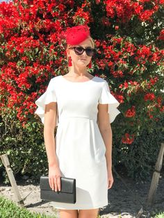 The Camilyn Beth Wilma Dress in Ivory | The Meghan Fascinator in Red  | The Vivian Earrings in Red | Little White Dress Looks | White Spring Dresses