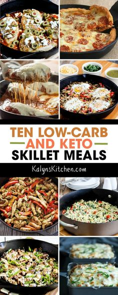 This collection of Ten Low-Carb Skillet Meals has some great ideas for easy and tasty low-carb meals to make in one skillet! And doesn\'t everyone love a meal that cooks in one pan? [found on KalynsKitchen.com] #LowCarbSkilletMeals #LowCarbOnePanMeal