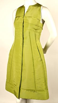CHADO RALPH RUCCI chartreuse silk runway dress | From a collection of rare vintage evening dresses and gowns at https://www.1stdibs.com/fashion/clothing/evening-dresses/