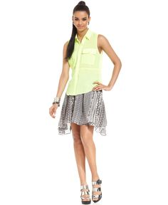 Bar III Neon Top w/ Geometric Skirt
