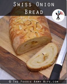 Swiss Onion Bread - soft bread swirled with caramelized onions and gooey Swiss cheese.