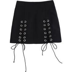 Punk Schnüren Minirock ($16) ❤ liked on Polyvore featuring skirts and zaful