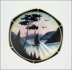 Norwegian Art Deco Silver Enamel Midnight Sun Pin- AKSEL HOLMSEN