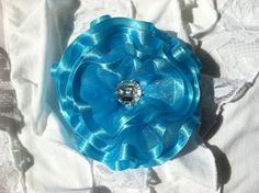 Turquoise Sheer/Satin Flower/Bow by OliviasPretties on Etsy, $6.00