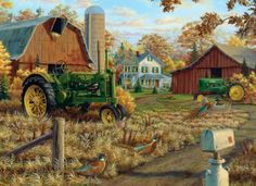 Are you looking for some John Deere Jigsaw Puzzles? You'll find plenty of different John Deere jigsaw puzzles for adults and kids in all sizes and piece counts! Barn Pictures, Pictures To Paint, Images D'art, Farm Images, Retro, Farm Paintings, Farm Art, Country Scenes, Country Art