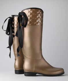 Another great find on #zulily! däv Bronze Pearl Quilted Victoria Rain Boot - Women by däv #zulilyfinds