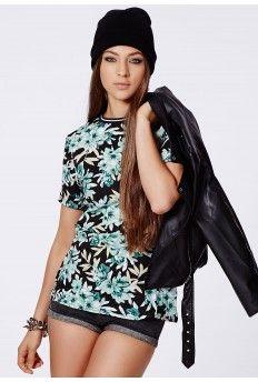 Brydie Floral Sports Trim Boyfriend T-Shirt #MissguidedAW14