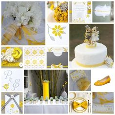 Grey and Yellow Wedding   (not too sure about the birds on the cake)