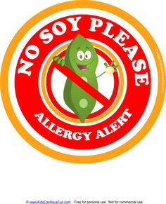 No Soy Please Allergy Alert Poster