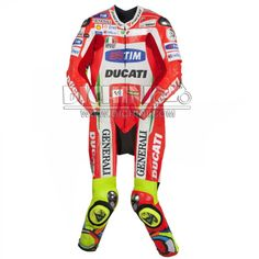 Valentino Rossi Ducati Motorcycle MotoGP 2012-2013 Leather SuitValentino Rossi Ducati Motorcycle MotoGP 2012-2013 Leather Suit - Pre-curved sleeves for proper riding position, Dual stitched main seams for excellent tear resistance, Nylon Stitched, Leather Patches throughout the Body shell, This