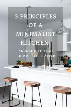 Here's an inside look at our realistic minimalist kitchen. I used to keep all kinds of kitchen accessories on our counters. Through becoming minimalist I am now able to keep the clutter at bay and maintain clear counters an a simplified kitchen. #minimalistkitchen #howtodeclutteryourkitchen #organizingyourkitchen #minimalismwithkids