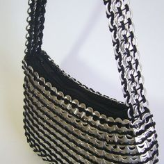 crochet and pop tab purse | Handbag made entirely of pop can pull tabs crocheted together!