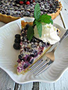 Saskatoon berry crème fraîche tart