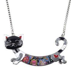 Bonsny Statement Maxi Alloy Enamel Cat Choker Necklace Chain Pendant Collar 2017 Fashion New Enamel Jewelry Women Cat Jewelry, Black Jewelry, Enamel Jewelry, Turquoise Jewelry, Pendant Jewelry, Women Jewelry, Jewelry Ideas, Jewlery, Pendant Necklace