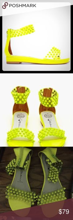 Jeffrey campbell largo studded sandal Worn once, neon yellow largo studded sandal Jeffrey Campbell Shoes Sandals