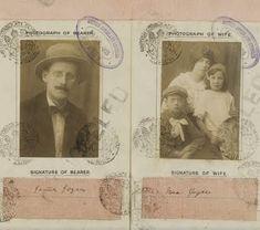(Image: James Joyce passport). Books: Dubliners, Portrait of an Artist as a Young Man, Ulysses.