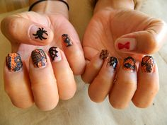 Halloween nail tutorial with lace and black widow theme