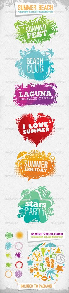 Summer Beach Creative Vector Design Elements — Vector EPS #sign #grunge • Available here → https://graphicriver.net/item/summer-beach-creative-vector-design-elements/2622171?ref=pxcr