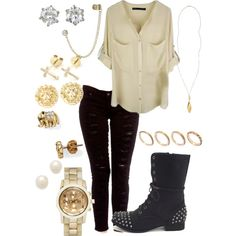 Fall outfit..rocker style. I love the accessories with this.