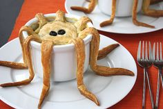 9.   Tentacle Pot Pie Recipe {Tutorial} ~ Surprise your kids with this fun dinner – or really get them worried by telling them you will be serving octopus {evil laugh}.  These would also be fabulous for a beach themed party or for Halloween.