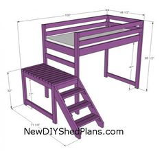 Camp Loft Bed with Stair, Junior Height. frankenbuild with other loft bed plans to make taller, full sized, with stairs.