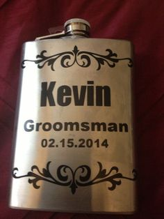 DIY flasks for wedding groomsmen gifts using vinyl and Sihlouette Cameo