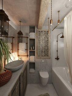 Die Einrichtung des Bads erhält durch ornamentreiche Schranktüren marokkanische Akzente