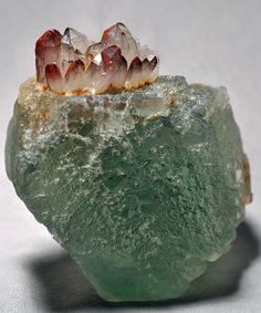 Rare Red Quartz Cluster on Fluorite / Mineral Friends <3