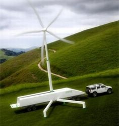 The Portable wind turbine by Uprise Energy, is a 50 kW mobile wind turbine power center that can produce off-grid power. Biomass Energy, Renewable Energy, Solar Energy, Solar Power, Green Technology, Sustainable Energy, Wind Power, Save Energy, Wind Turbine