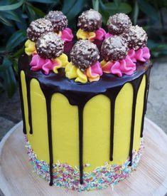 Chocolate and Custard Drip Cake-