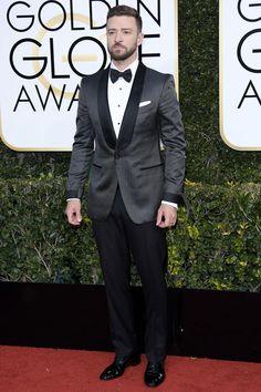 Grey tuxedo. Grey dinner jacket.  Trouser. The 20 Best-Dressed Men at the 2017 Golden Globe Awards
