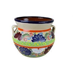 Round Raised Talavera Flowerpot - Medium