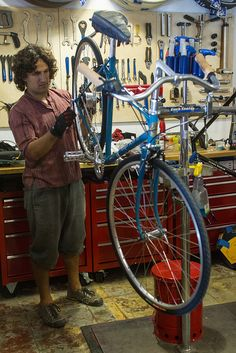 Josef working in our new workshop at Flying Pigeon LA. Photo by: Mikey Wally.