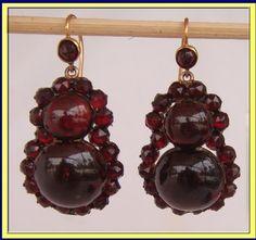 antique Victorian garnet jewelry - Google Search Garnet Jewelry, Garnet Earrings, Pendant Earrings, Drop Earrings, Antique Earrings, Antique Jewelry, Vintage Jewelry, Art Nouveau, Art Deco