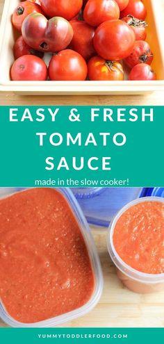 Fresh Tomato Sauce Recipe, Fresh Tomato Recipes, Easy Tomato Sauce, Canned Tomato Sauce, Veggie Recipes, Baby Food Recipes, Healthy Recipes, Tomatoe Sauce, Fun Recipes