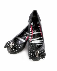 Abbey Dawn Glitter Skull Flats - Black for work get em while theyre hot! $19.99