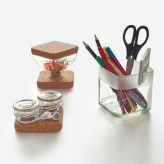 Comprar set escritorio vidrio reciclado y corcho Lucirmás. Decoración y diseño vidrio reciclado en Barcelona para crear piezas únicas hechas a mano. Upcycling