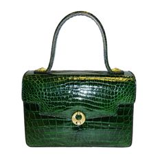 Vintage Aries Baby Alligator Emerald Green  Bag Purse | From a collection of rare vintage handbags and purses at http://www.1stdibs.com/fashion/accessories/handbags-purses/