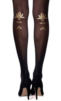 Liven up your wardrobe with a pair of floral Tights by Zohara. The print sheer Tights feature sexy gold flowers tattoo print on a one-size black tights Floral Tights, Sheer Tights, Patterned Tights, Black Tights, Black Laces, Opaque Tights, Older Women Fashion, Womens Fashion, Tatoo