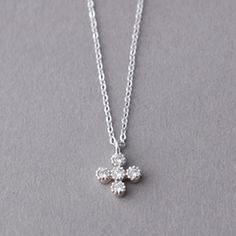 STERLING SILVER SWAROVSKI SMALL CROSS NECKLACE WHITE GOLD FILLED CROSS JEWELRY by kellinsilver