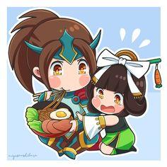 Chibi Zilong and Chang'e by Miyusa Ashibara Mobiles, Bang Bang, Moba Legends, The Legend Of Heroes, Mobile Legend Wallpaper, Anime Version, Emoji Wallpaper, Cute Chibi, Anime Neko