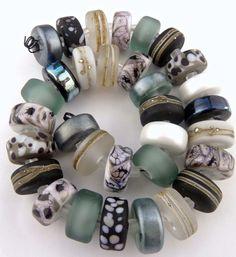 PT Handmade Lampwork Glass Beads Silver Greystone Web Disk Black Silver  SRA  #SRAOOAKHandmadeLampwork #Lampwork