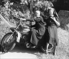 This will be me and Mary one day on her Triumph. Maybe without the nun habits. We'll bring habits of our own!