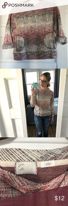 Anthropologie crop sleeve sweater/ sweatshirt Cream, black, red cropped sleeve and cropped sweater/ sweatshirt. Sweaters Crew & Scoop Necks