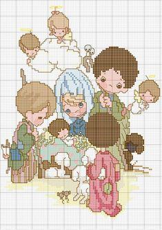 Schema punto croce Pm nascita,Natale,Cross Stitch Christmas Cross Stitch Angels, Xmas Cross Stitch, Cross Stitch Cards, Beaded Cross Stitch, Cross Stitch Samplers, Cross Stitching, Cross Stitch Embroidery, Embroidery Patterns, Cross Stitch Patterns