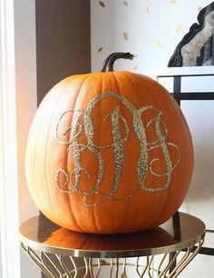 Halloween: Glitter Monogram Pumpkins