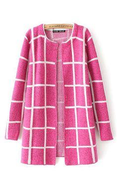 Fuchsia Grids Print Long Sleeves Cardigan Sweater