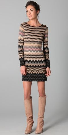M Missoni  Metallic Flame Stitch Dress