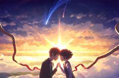 Anime Your Name.  Mitsuha Miyamizu Kimi No Na Wa. Taki Tachibana 😍😍😍💝